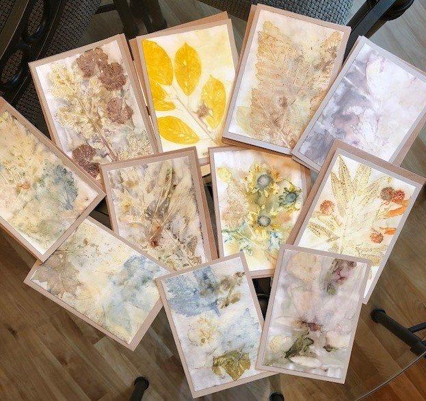 Artscape Studio Kathy Grundei eco-printed greeting cards